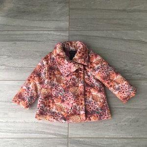 Cynthia Rowley Girls Plush Floral Coat, 24 mos